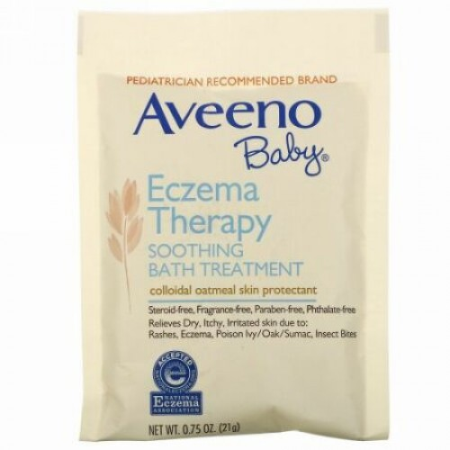 Aveeno, ベビー、湿疹治療、症状を緩和するバストリートメント、無香料、5バスパック、3.75オンス(106 g)