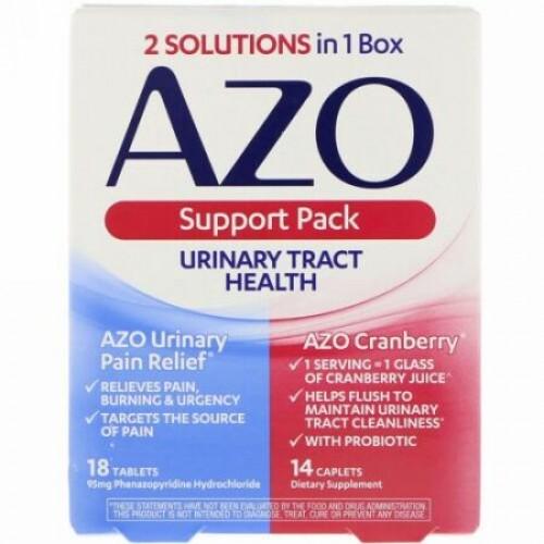 Azo, 尿路ヘルス、サポートパック、18錠、14カプレット (Discontinued Item)