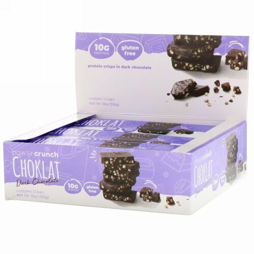 BNRG, パワークランチ® プロテインエネルギーバー, チョコラット, ダークチョコレート, 12 本, 各 1.54 オンス (43 g)