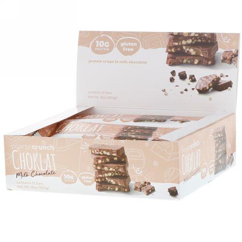 BNRG, パワークランチ プロテイン エネルギー バー、 チョコレート、 ミルク チョコレート、 12 バー、各1.5 oz (42 g)