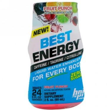 BPI Sports, ベストエナジー、リキッドウォーターエンハンサー、フルーツポンチ、2 fl oz (60 ml) (Discontinued Item)