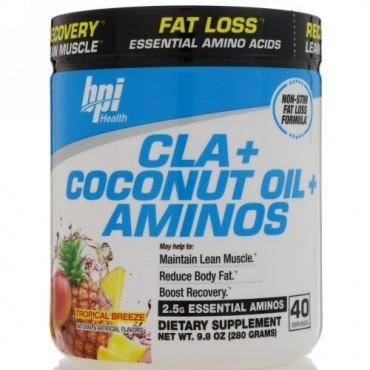 BPI Sports, CLA + ココナッツオイル + アミノ酸、トロピカルブリーズ、9.8オンス (280 g) (Discontinued Item)