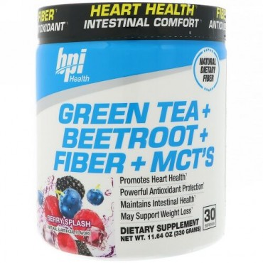BPI Sports, 緑茶 + ビートルート + 繊維 + MCT's、ベリースプラッシュ、11.64 oz (330 g) (Discontinued Item)