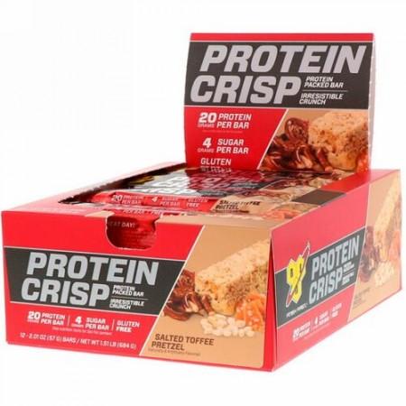 BSN, プロテインクリスプ、タンパク質たっぷり、塩味タフィープレッツェル、12本、57g(2.01oz)