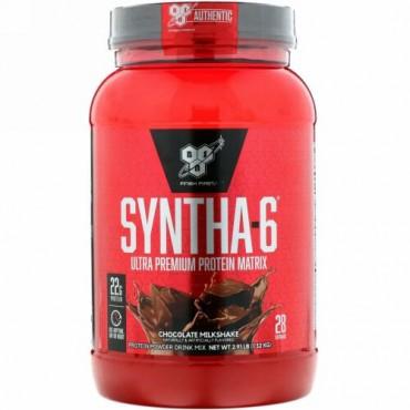BSN, Syntha-6, タンパク質粉末ジュース, チョコレートミルクセーキ, 2.91ポンド(1.32 kg)