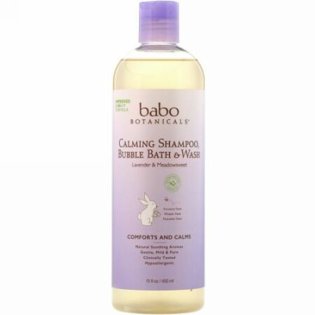 Babo Botanicals, 3-in-1 カーミング・シャンプー、バブルバス &ウォッシュ、リラックシング・ラベンダー・ミドウスィート、 13.5 液量オンス (400 ml)