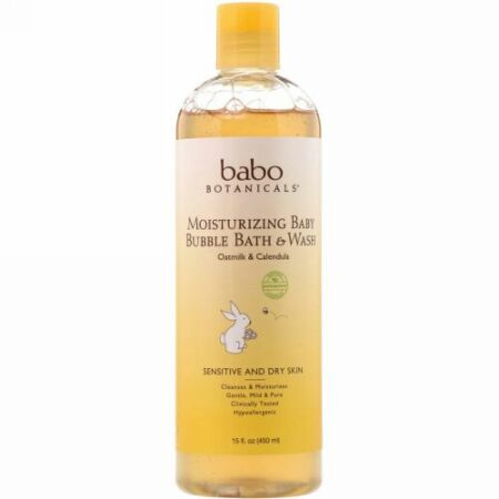 Babo Botanicals, モイスチャライジングベビーバブルバス & ウォッシュ、オートミルクキンセンカ、15液量オンス (450 ml)