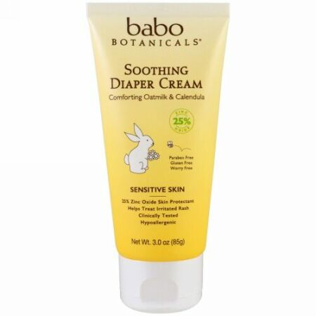Babo Botanicals, すっkりおむつクリーム、快適なオートミルク&カレンデュラ、3.0オンス(85g)