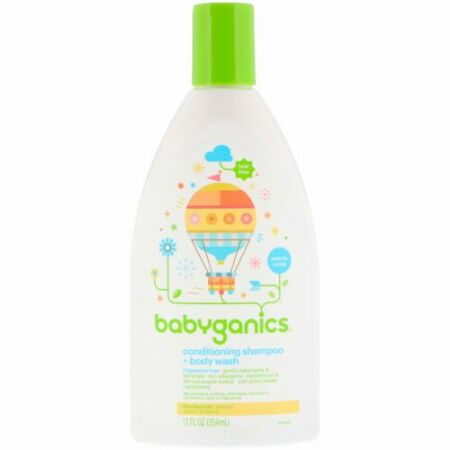 BabyGanics, コンディショニングシャンプー + ボディウォッシュ、無香料、354ml(12 fl oz) (Discontinued Item)
