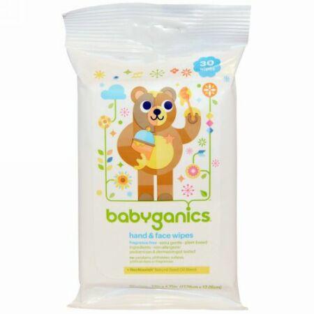 BabyGanics, ハンド&フェイスワイプ、無香料、30枚 (Discontinued Item)