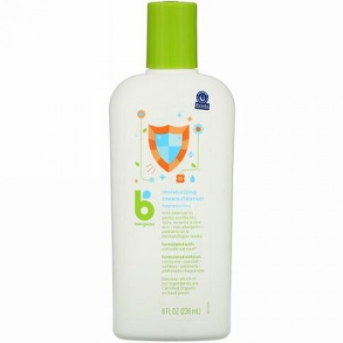 BabyGanics, Moisturizing Cream Cleanser, Fragrance Free, 8 fl oz (236 ml) (Discontinued Item)