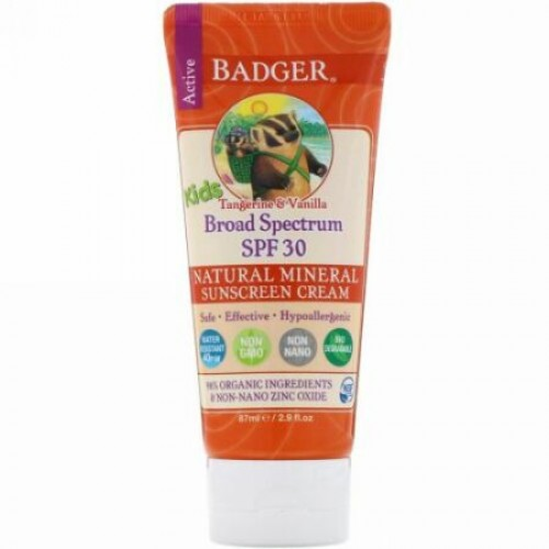 Badger Company, Active Kids, Natural Mineral Sunscreen Cream, SPF 30 PA+++, Tangerine & Vanilla, 2.9 fl oz (87 ml)