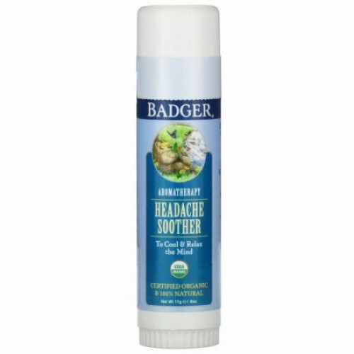 Badger Company, Aromatherapy, Headache Soother, Peppermint & Lavender, .60 oz (17 g)
