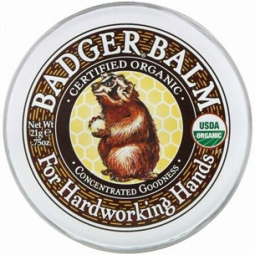 Badger Company, Badger バーム, フォア・ハードワーキング・ハンズ, .75 oz (21 g)