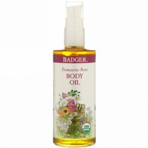 Badger Company, Damascus Rose Body Oil, 4 fl oz (118 ml)