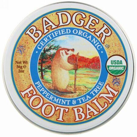 Badger Company, フットバーム(足香油), ペパーミント&ティーツリー, 2オンス (56 g)