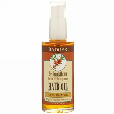 Badger Company, Hair Oil, Seabuckthorn, Apricot & Pomegranate, 2 fl oz (59.1 ml) (Discontinued Item)