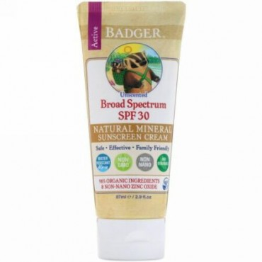 Badger Company, ナチュラルミネラルサンスクリーンクリーム、SPF30 PA+++、無香料、87 ml(2.9 fl oz) (Discontinued Item)
