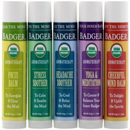 Badger Company, Aromatherapy Travel Kit, 5 Pack, .15 oz (4.3 g) Each