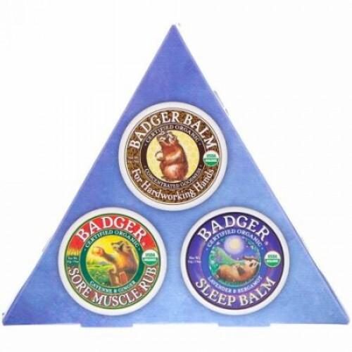 Badger Company, オーガニック, バジャーバームサンプラー, 3パック, 各0.75オンス (21 g) (Discontinued Item)