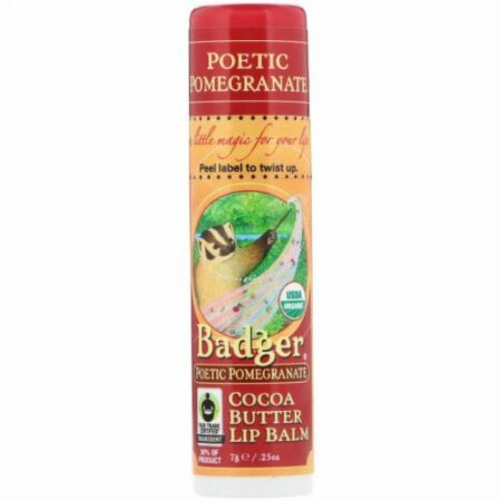 Badger Company, Organic, Cocoa Butter Lip Balm, Poetic Pomegranate, .25 oz (7 g) (Discontinued Item)