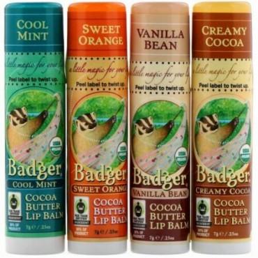 Badger Company, オーガニック、ココアバターリップバームセット、4パック、各.25 oz (7 g) (Discontinued Item)