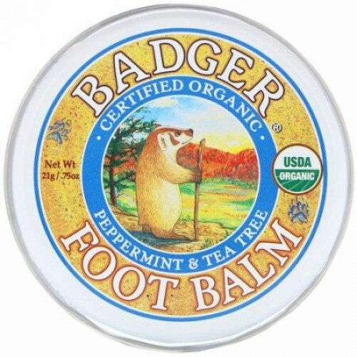 Badger Company, フットバーム、 ペパーミント&ティーツリー、 0.75オンス (21 g)