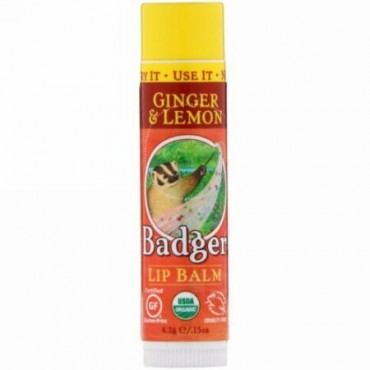 Badger Company, オーガニック、リップバーム、ジンジャー & レモン、.15 oz (4.2 g) (Discontinued Item)