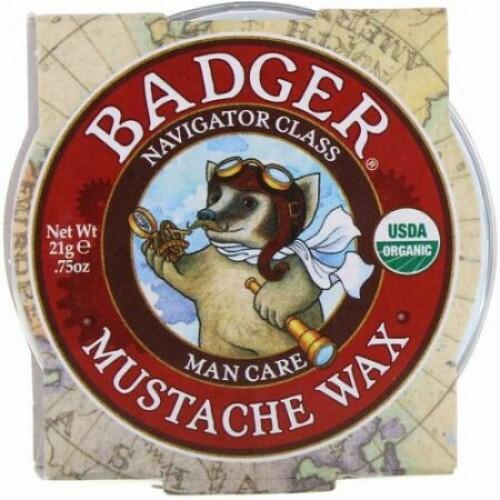 Badger Company, オーガニック 髭用ワックス、マンケア、, .75 オンス (21 g) (Discontinued Item)