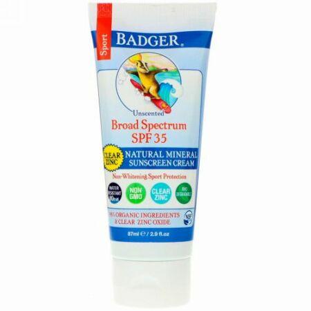 Badger Company, スポーツ、天然ミネラルサンスクリーンクリーム、クリア亜鉛、SPF35、無香料、2.9 fl oz (87 ml)