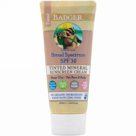 Badger Company, 色付きミネラル サンスクリーンクリーム、広域スペクトルSPF30、無香料、87ml(2.9液量オンス) (Discontinued Item)