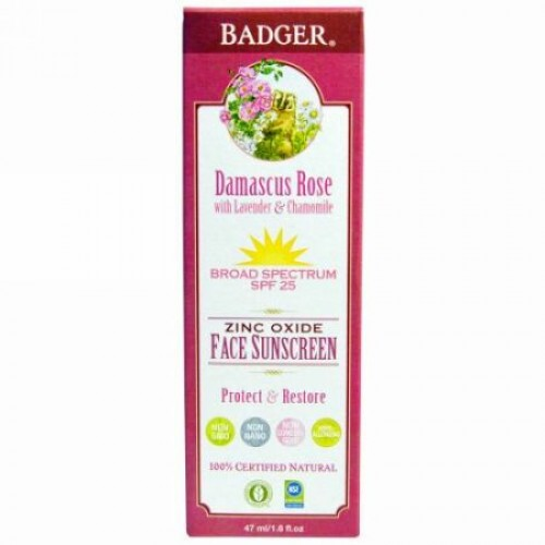 Badger Company, 亜鉛 オキサイドフェイス日焼け止め、 SPF 25、 ダマスカスローズ、 1.6 fl oz (47 ml) (Discontinued Item)
