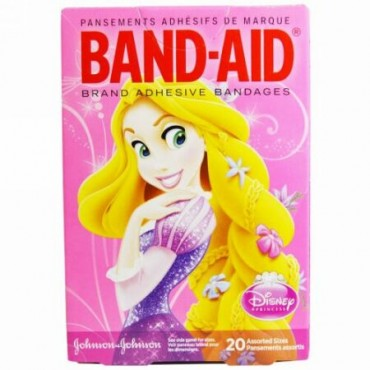 Band Aid, 粘着包帯、ディズニープリンセス、20種類のサイズ (Discontinued Item)
