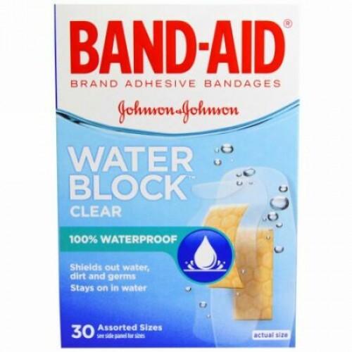 Band Aid, 絆創膏、ウォーターブロック、クリアー、様々なサイズが30枚