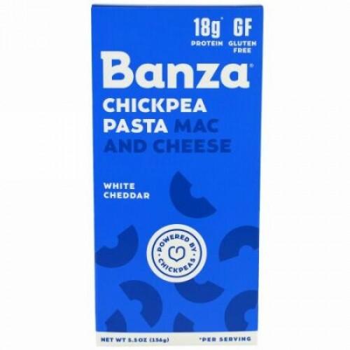 Banza, ひよこまめパスタ・マック&チーズ、ホワイトチェダー、5.5 oz (156 g) (Discontinued Item)