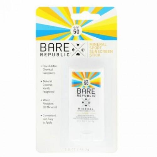 Bare Republic, ミネラルスポーツサンスクリーンスティック、SPF 50、0.5オンス (14.2 g) (Discontinued Item)