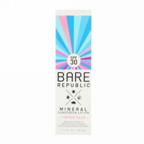 Bare Republic, ミネラルサンスクリーンローション、ティンテッドフェイス、SPF30、1.7 fl oz (50 ml) (Discontinued Item)