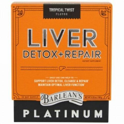 Barlean's, 肝臓デトックス+リペア、トロピカルツイスト、6.35 oz (180 g) (Discontinued Item)