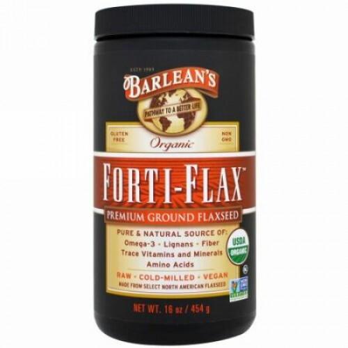 Barlean's, オーガニック フォルティフラックス(Forti-Flax), 高級粉挽き亜麻仁, 16オンス(454 g)