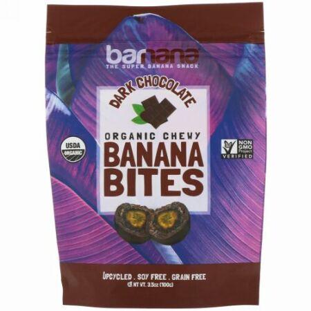 Barnana, Organic Chewy Banana Bites, Dark Chocolate, 3.5 oz (100 g) (Discontinued Item)