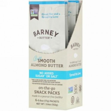 Barney Butter, Almond Butter, On the Go Snack Packs, Bare Smooth, 6 Packets, 0.6 oz (17 g) Each (Discontinued Item)
