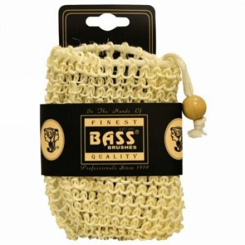Bass Brushes, シザル ソープ ホルダーパウチ、 ドローストリング付き、 100% ナチュラルファイバー、 ファーム、 1 個 (Discontinued Item)