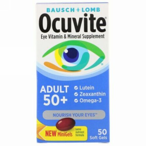 Bausch & Lomb, Ocuvite、大人用50 +、目に良いビタミン & ミネラルサプリメント、ソフトゲル50粒