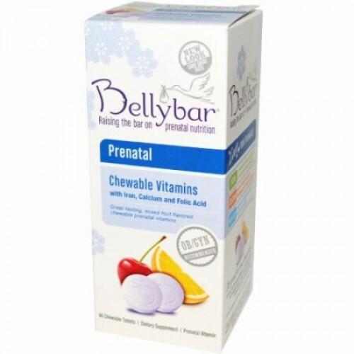 Bellybar, プレナタル・チュワブル・ビタミンズ、ミックスフルーツ味、60 噛めるタイプのタブレット (Discontinued Item)