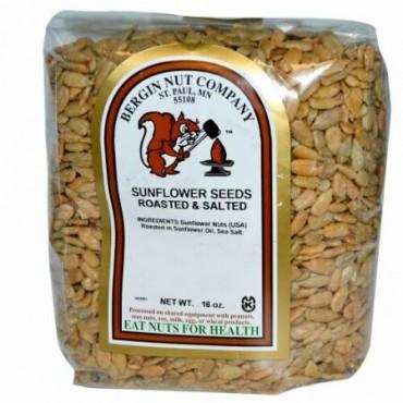 Bergin Fruit and Nut Company, サンフラワーシード、 ロースト&塩味、 16オンス (Discontinued Item)