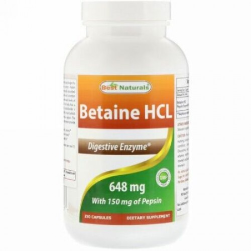 Best Naturals, Betaine HCL、648 mg、250粒 (Discontinued Item)