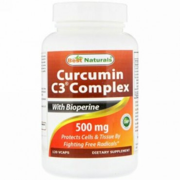 Best Naturals, Curcumin C3 Complex with Bioperine, 500 mg , 120 VCaps (Discontinued Item)