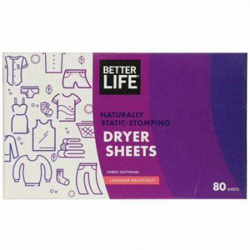 Better Life, 天然に静電気防止の乾燥機シート、ラベンダーグレープフルーツ、80枚