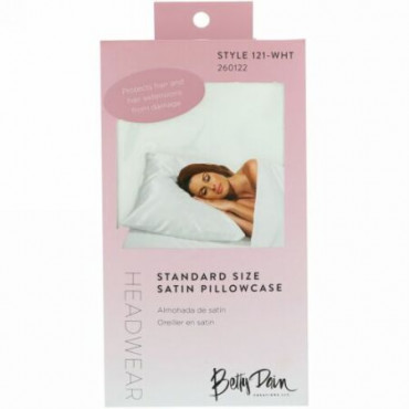 Betty Dain Creations, LLC, ヘッドウェア、サテン枕カバー・スタンダードサイズ、枕カバー1枚 (Discontinued Item)