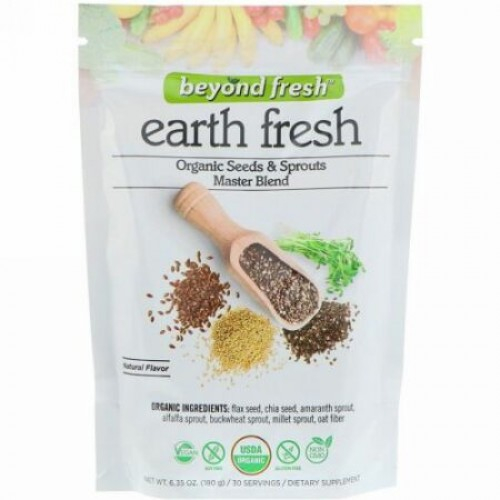 Beyond Fresh, アースフレッシュ、オーガニックのシードとスプラウトのマスターブレンド、ナチュラルな味、6.35 oz (180 g) (Discontinued Item)
